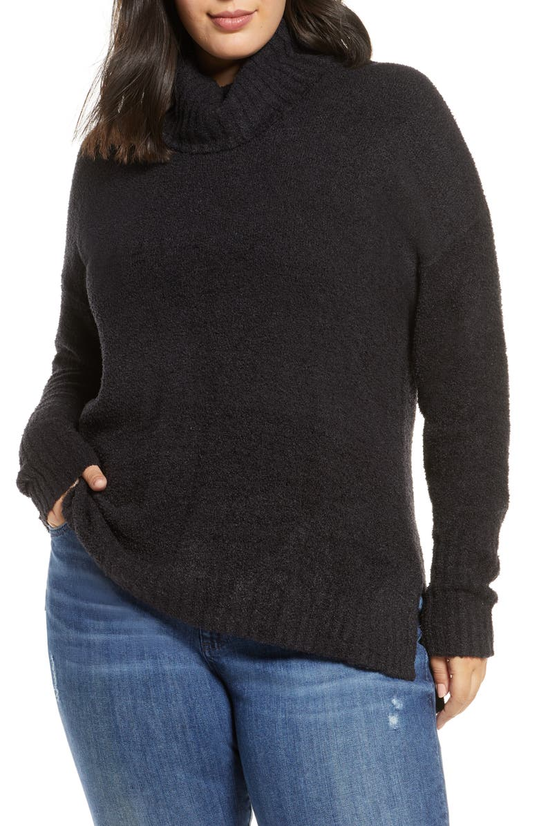 CASLON<SUP>®</SUP> Cozy Relaxed Turtleneck Sweater, Main, color, BLACK