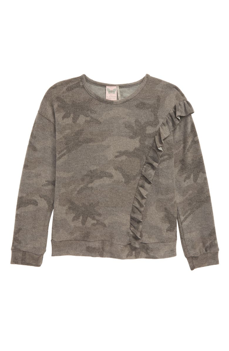 FOR ALL SEASONS Brushed Camo Long Sleeve Ruffle Top, Main, color, GRAY CAMO