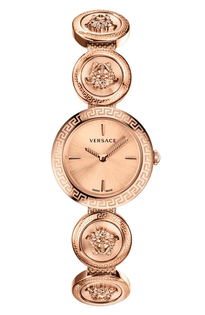 VERSACE Medusa Stud Icon Bracelet Watch, 28mm, Main, color, ROSE GOLD