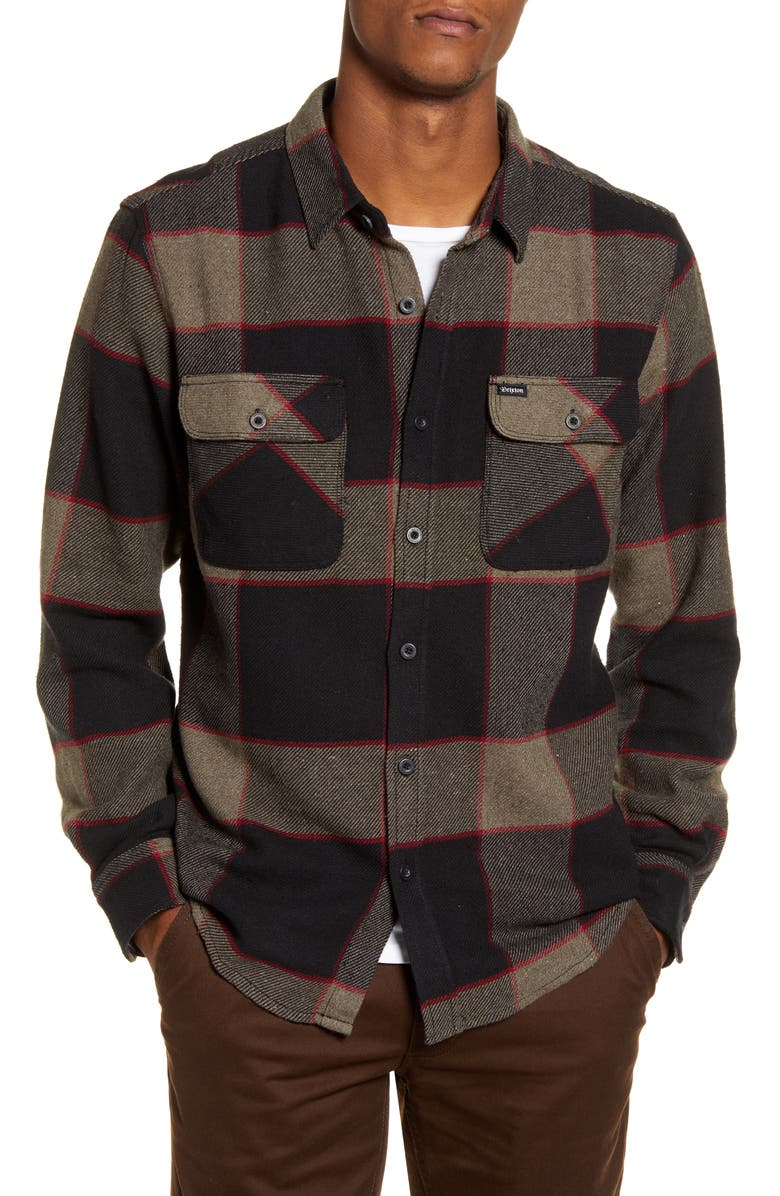 BRIXTON Bowery Plaid Button-Up Flannel Shirt, Main, color, HEATHER GREY/ CHARCOAL