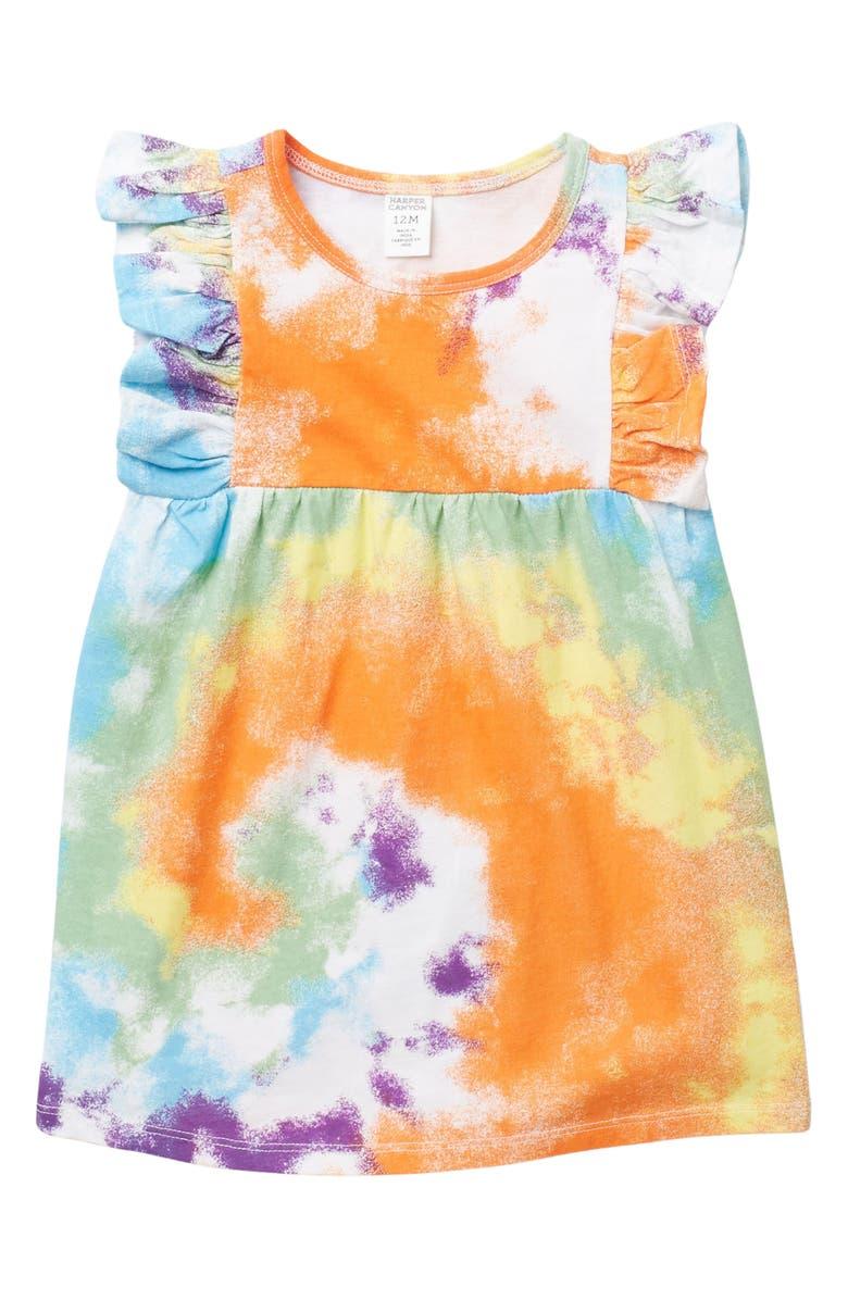 HARPER CANYON Sunny Ruffle Dress, Main, color, WHITE TIE DYE