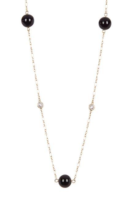 Image of Rivka Friedman Black Onyx Round Bead & CZ Station Necklace