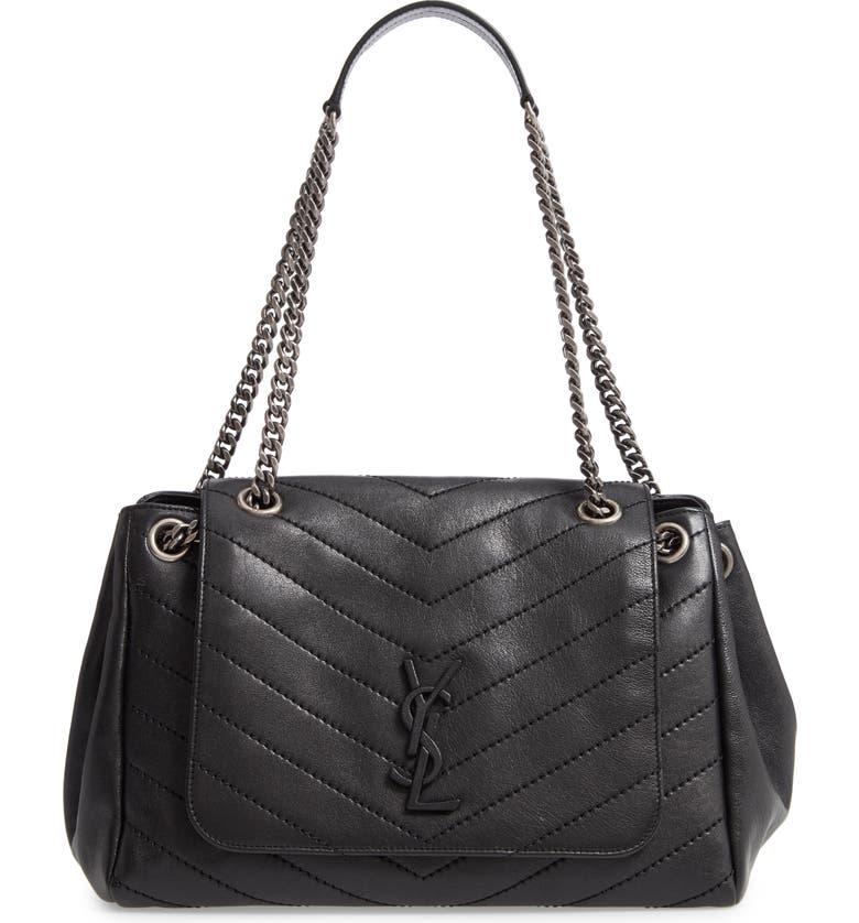 SAINT LAURENT Nolita Large Leather Shoulder Bag, Main, color, 001
