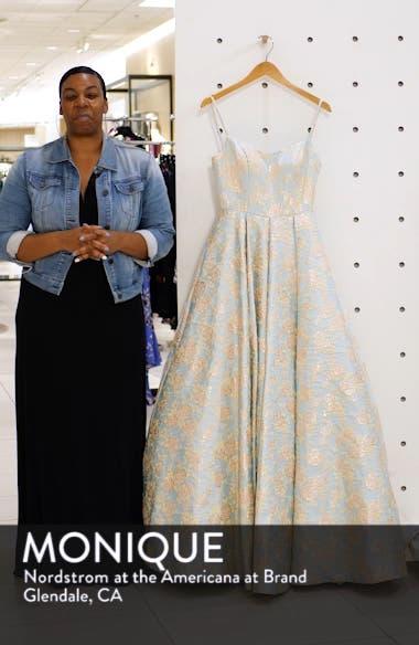 Square Neck Floral Jacquard Prom Dress, sales video thumbnail