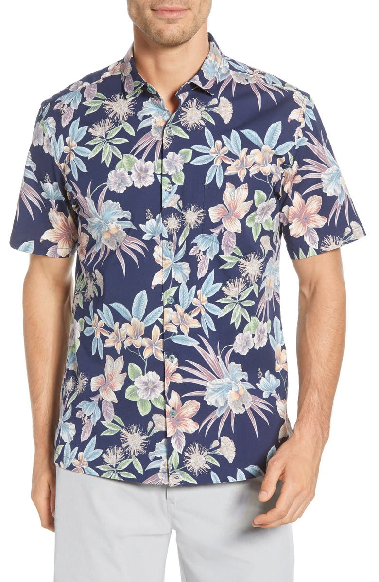 TORI RICHARD Still Blooming Classic Fit Floral Short Sleeve Button-Up Shirt, Main, color, NAVY