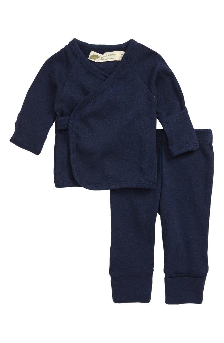 MONICA + ANDY Hello Baby Organic Cotton Wrap Top & Leggings Set, Main, color, NAVY HEATHER