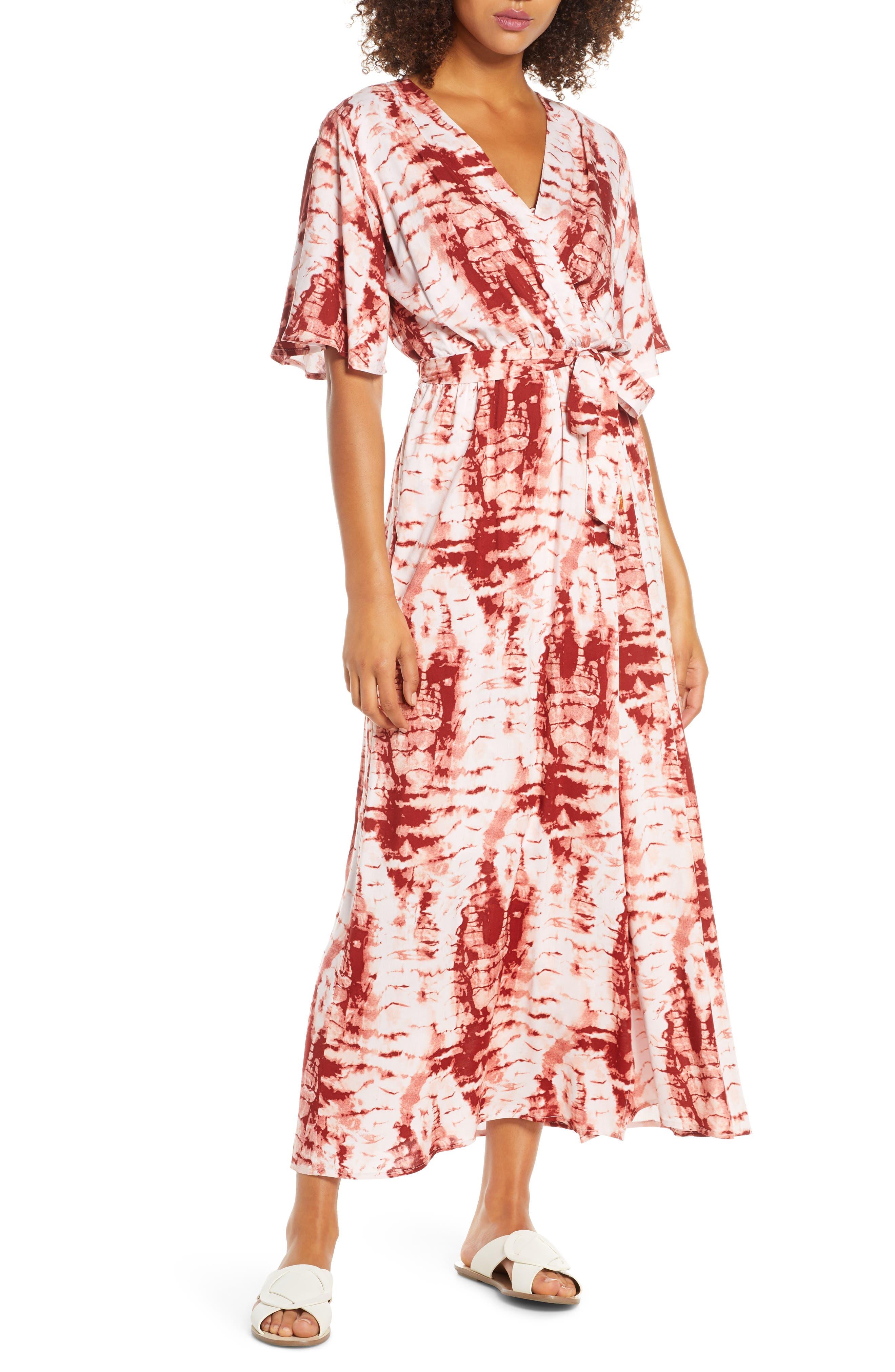 Tie Dye Faux Wrap Maxi Dress