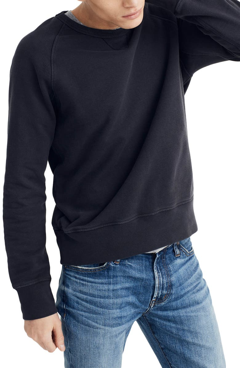 MADEWELL Garment Dyed Crewneck Sweatshirt, Main, color, BLACK COAL