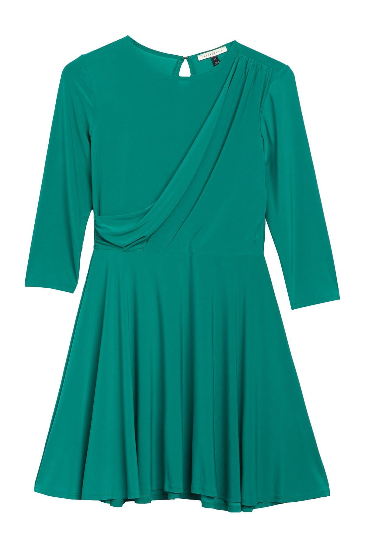 Image of TASH + SOPHIE Draped Neckline Fit & Flare Dress