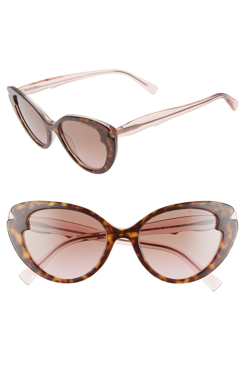 TIFFANY & CO. 54mm Cat Eye Sunglasses, Main, color, HAVANA/ PINK GRADIENT