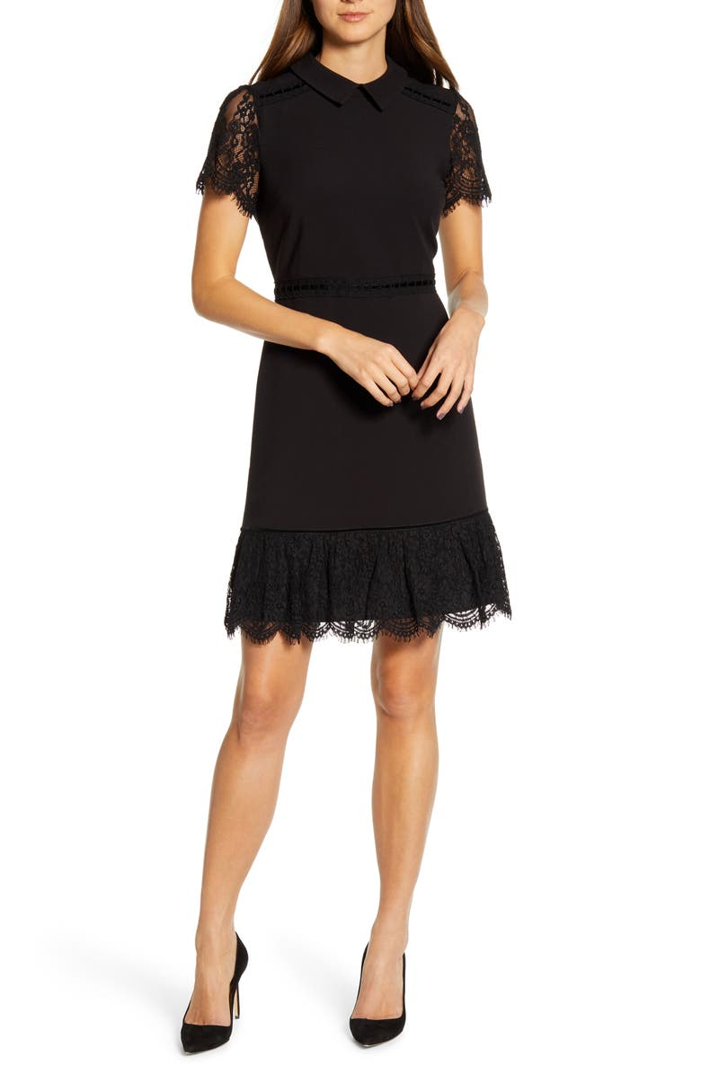 KARL LAGERFELD PARIS Lace Detail Collar Dress, Main, color, 001