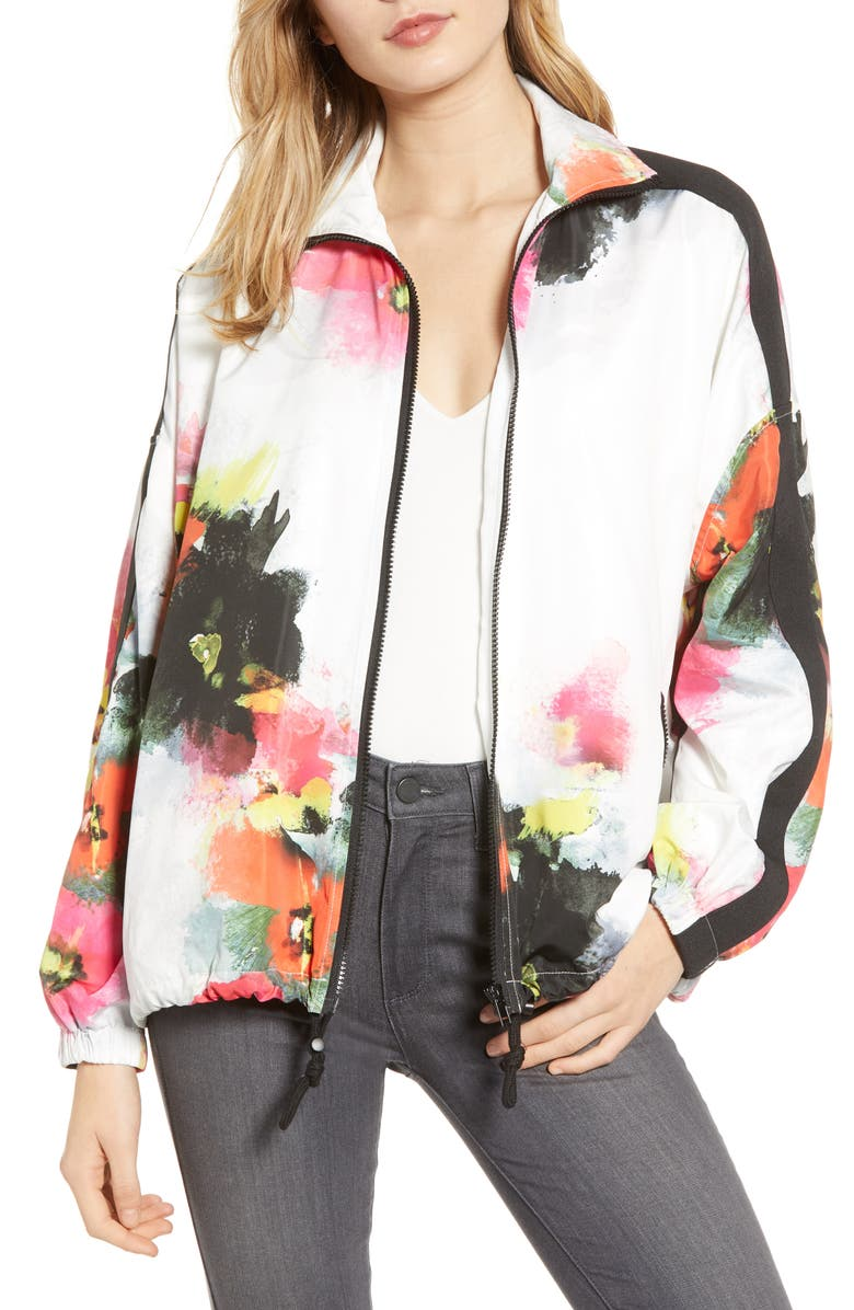 PAM & GELA Floral Stand Collar Zip Front Jacket, Main, color, 100