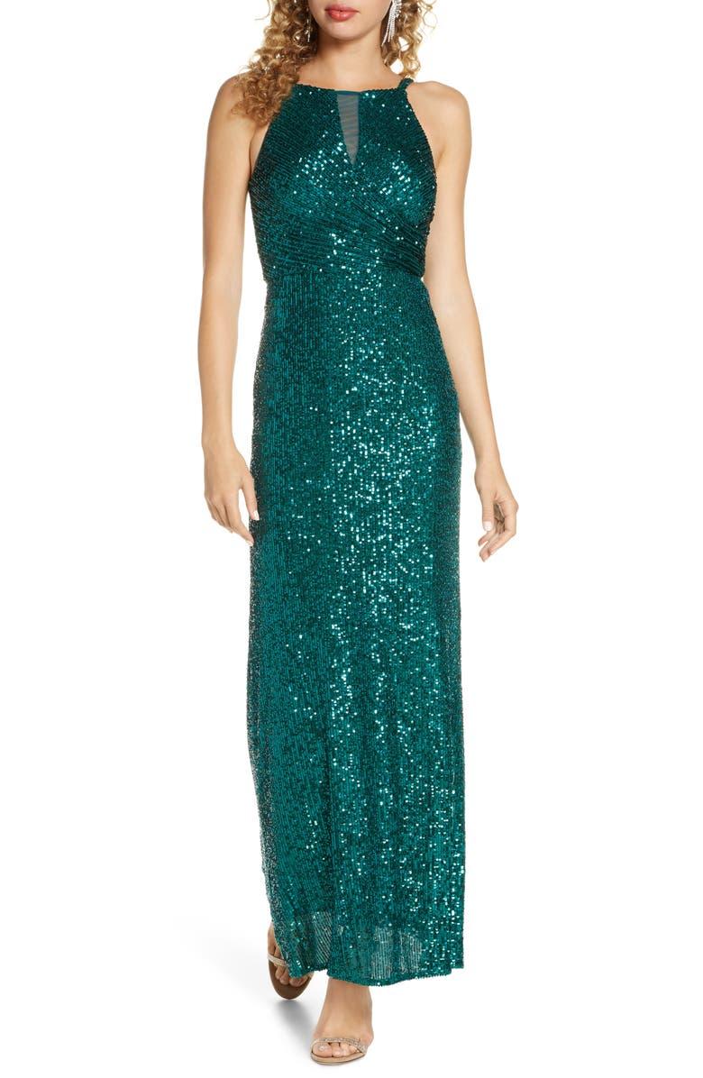 MORGAN & CO. Sequin Column Gown, Main, color, EMERALD