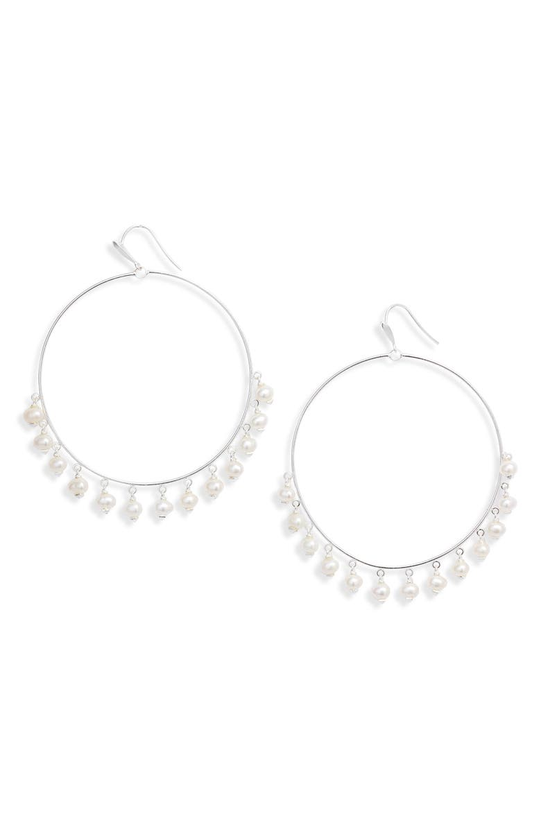 KENDRA SCOTT Hilty Natural Pearl Hoop Earrings, Main, color, BRIGHT SILVER/ WHITE PEARL