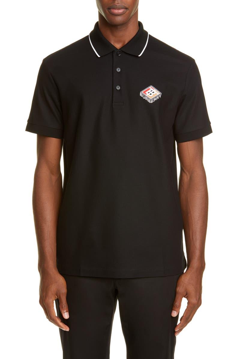 BURBERRY Aiden Polo, Main, color, BLACK