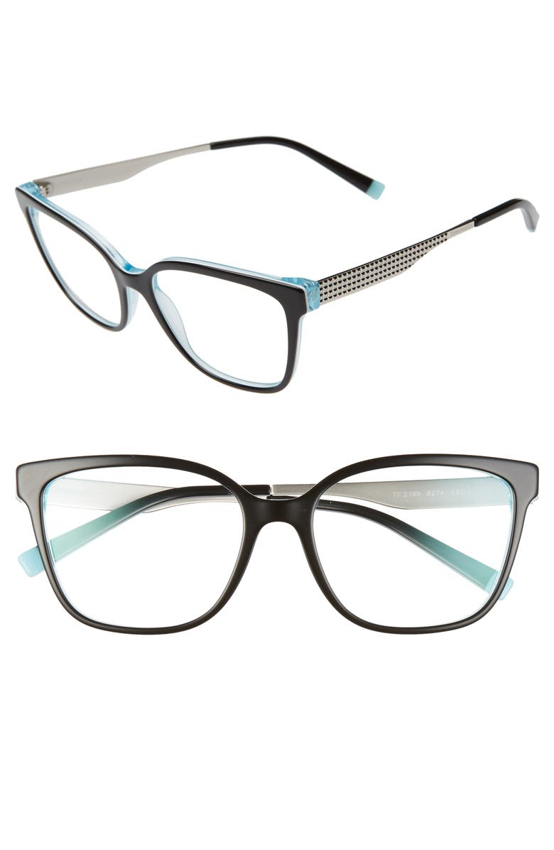 TIFFANY & CO. 54mm Optical Glasses, Main, color, BLACK BLUE/ SILVER