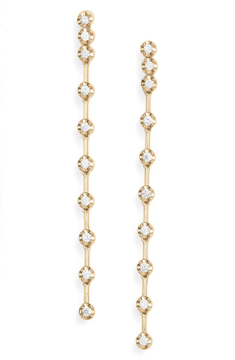 BONY LEVY Stiletto Diamond Linear Earrings, Main, color, YELLOW GOLD/ DIAMOND