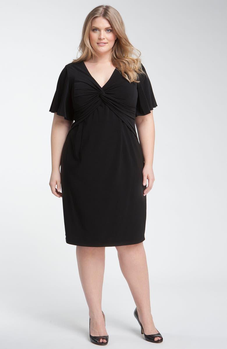ADRIANNA PAPELL Flutter Sleeve Jersey Dress, Main, color, 001