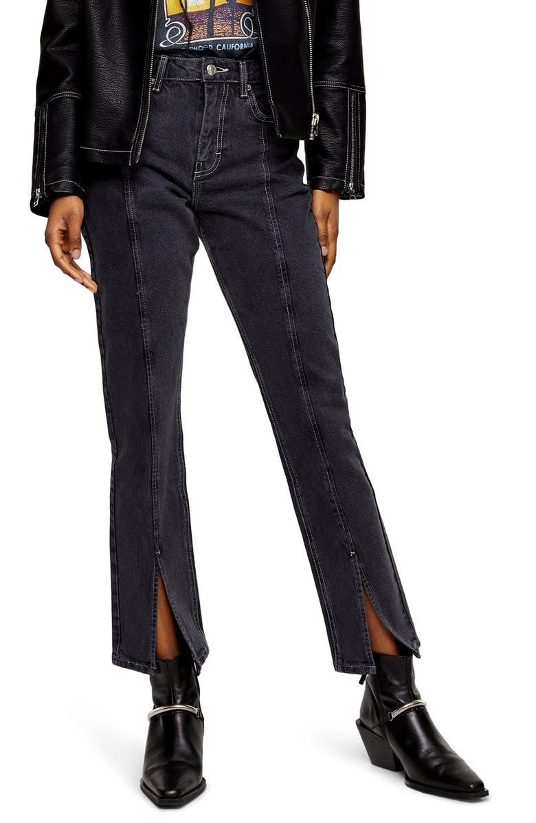 TOPSHOP High Waist Split Hem Ankle Straight Leg Jeans, Main, color, WASHED BLACK
