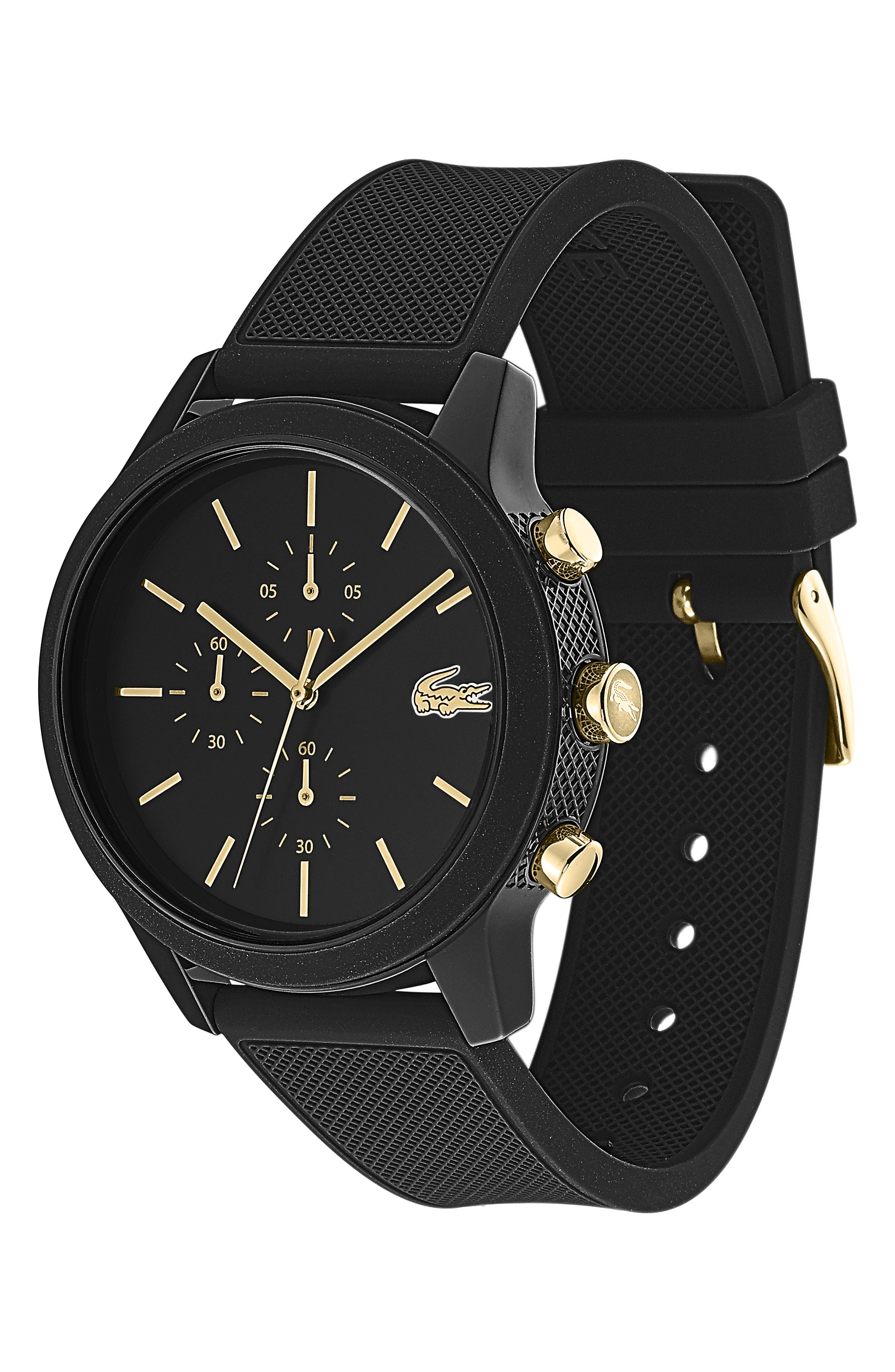 ,                             12.12 Chronograph Silicone Strap Watch, 44mm,                             Alternate thumbnail 3, color,                             BLACK