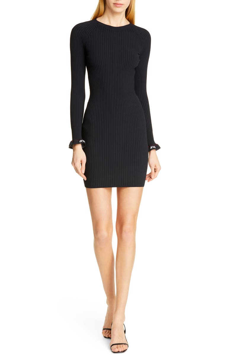 ALEXANDERWANG.T Body Stocking Ribbed Sweater Dress, Main, color, BLACK