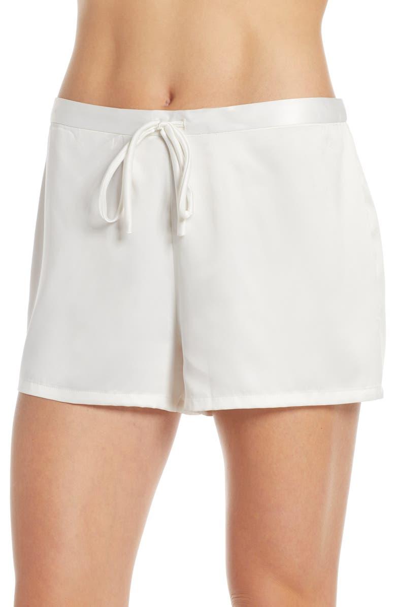 NATORI Satin Elements Pajama Shorts, Main, color, WAW WARM WHITE