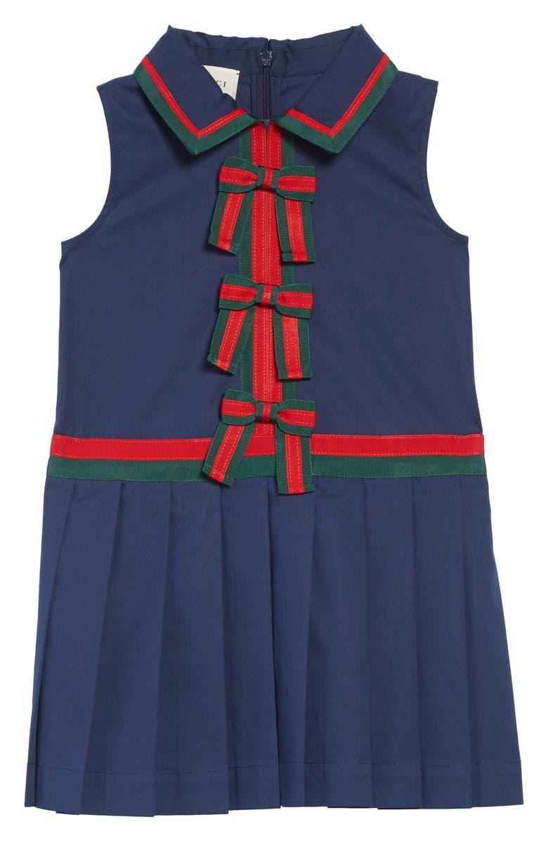 GUCCI Grosgrain Trim Pleated Dress, Main, color, URBAN BLUE
