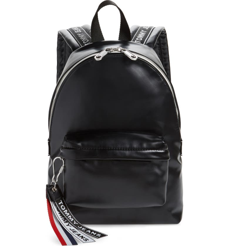 TOMMY JEANS Logo Tape Faux Leather Backpack, Main, color, BLACK