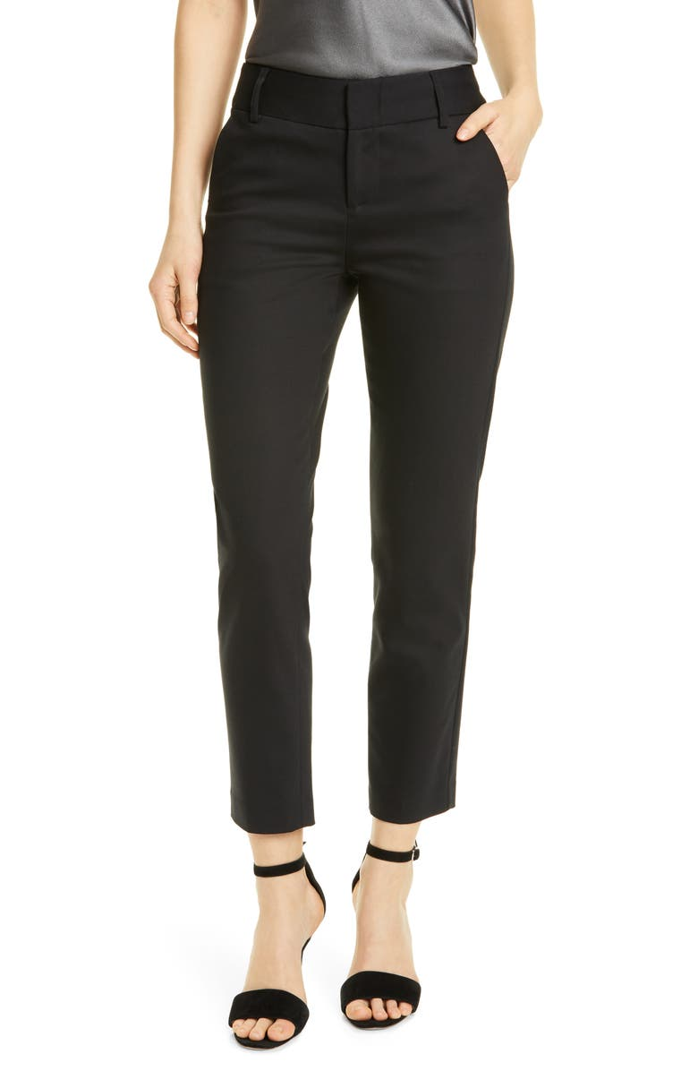 ALICE + OLIVIA Stacey Slim Stretch Cotton Blend Trousers, Main, color, 001