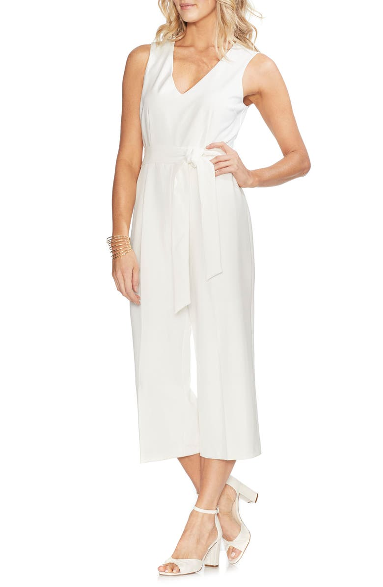 VINCE CAMUTO Belted Crop Jumpsuit, Main, color, NEW IVORY