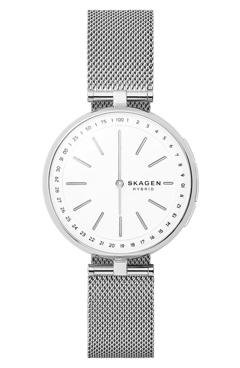 SKAGEN Signatur Connected T-Bar Mesh Strap Hybrid Smart Watch, 36mm, Main, color, 040
