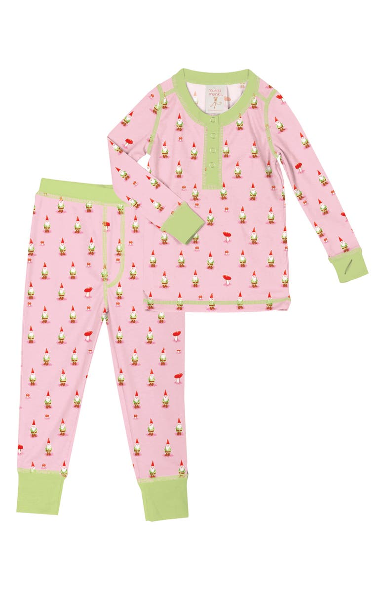MUNKI MUNKI Gnomes Fitted Two-Piece Pajamas, Main, color, LIGHT PINK