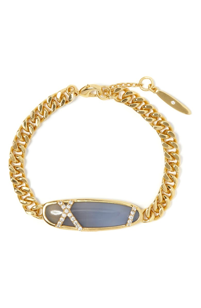 SOLE SOCIETY Agate & Pavé Bracelet, Main, color, GOLD