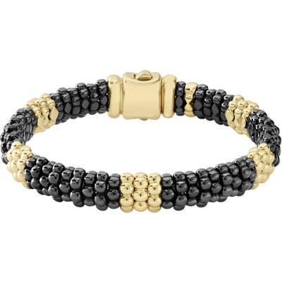 Lagos Gold & Black Caviar Station Bracelet