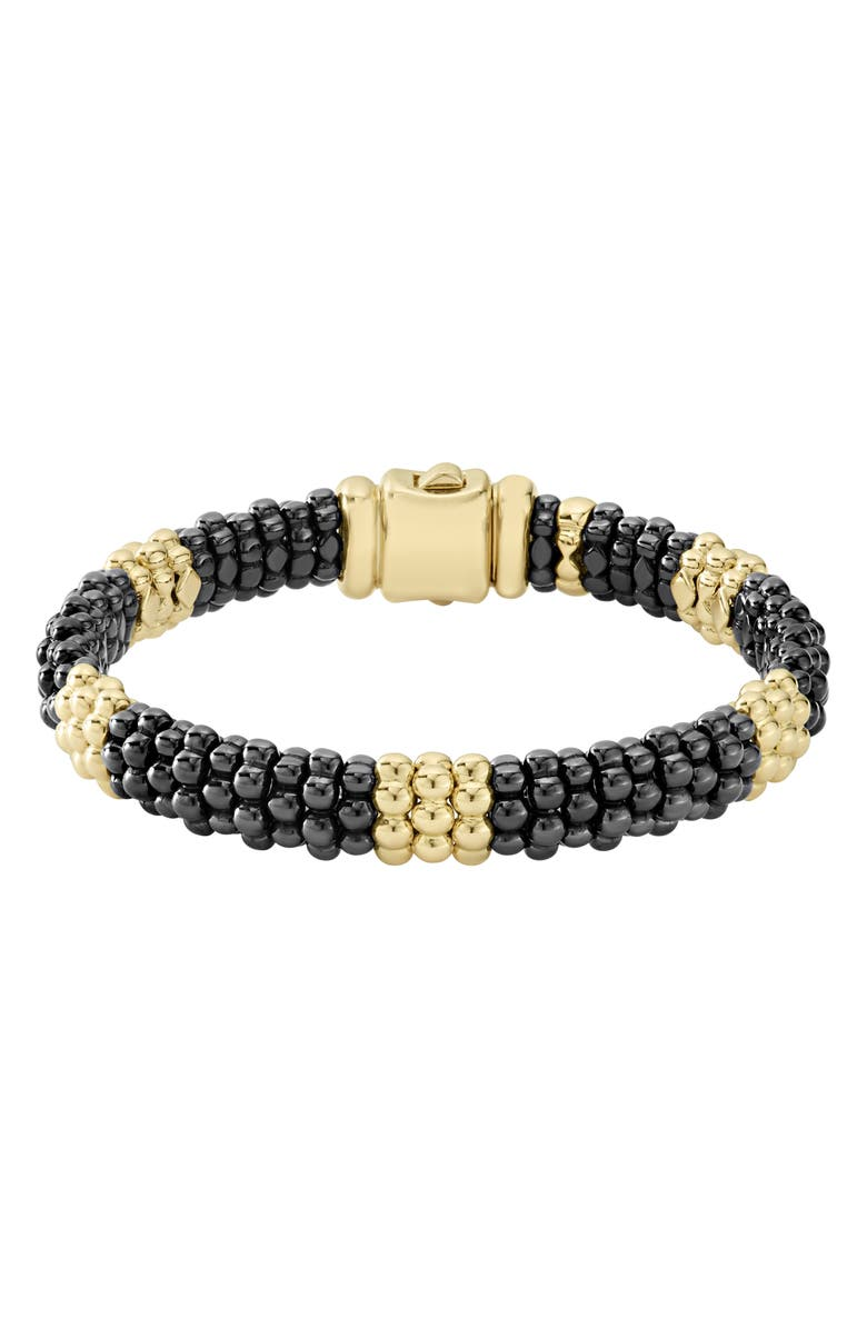 LAGOS Gold & Black Caviar Station Bracelet, Main, color, GOLD