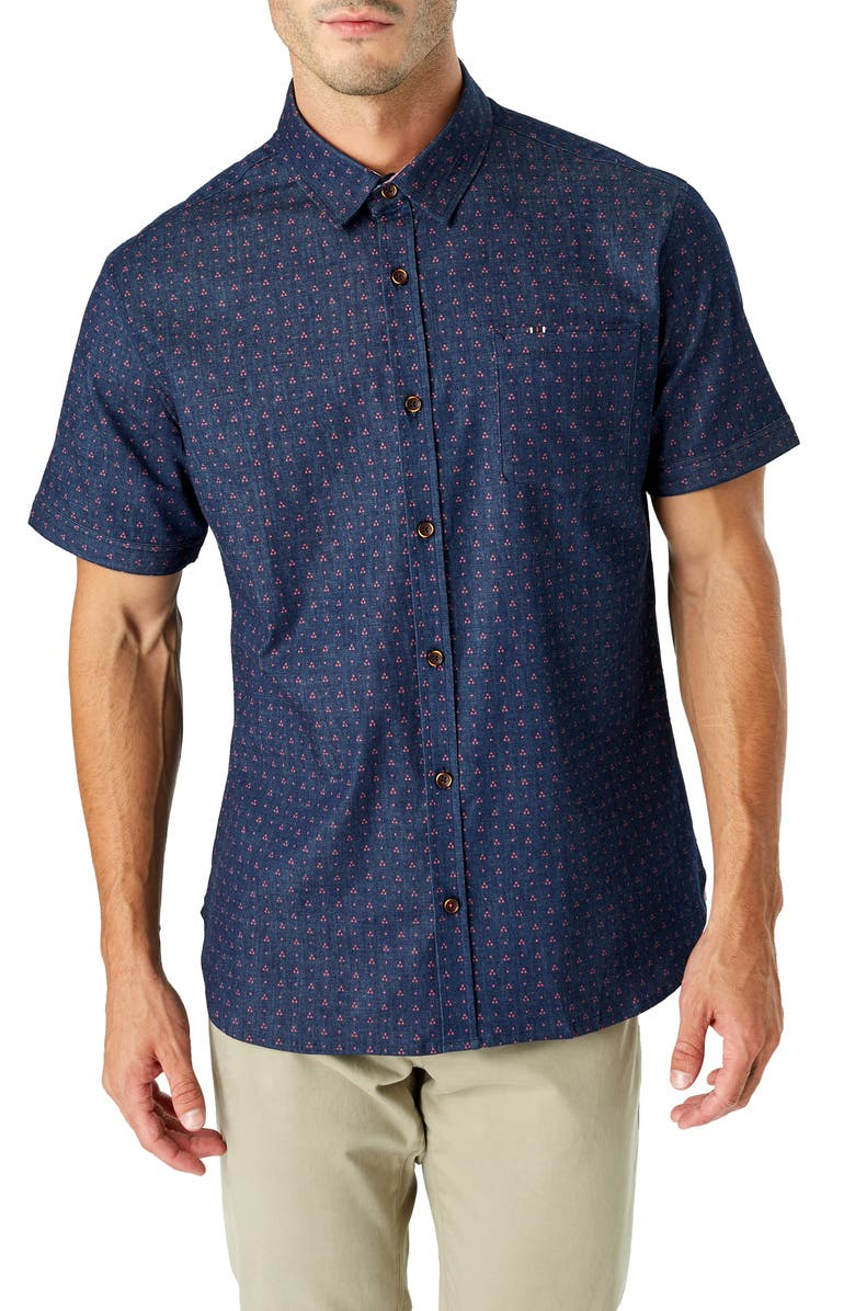 7 DIAMONDS Same Old Blues Slim Fit Short Sleeve Button-Up Sport Shirt, Main, color, NAVY