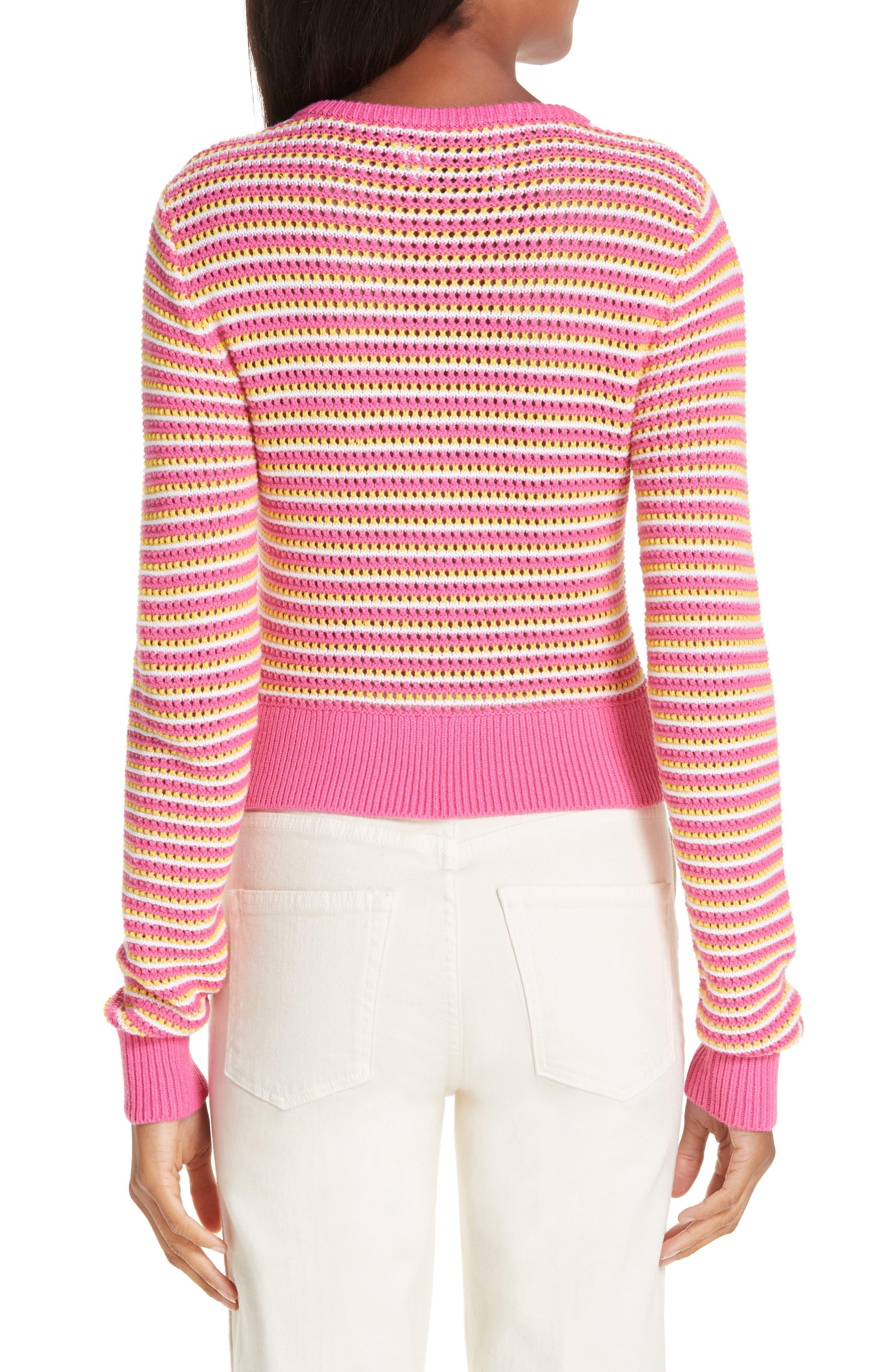 ,                             Stripe Cotton & Cashmere Button Cardigan,                             Alternate thumbnail 2, color,                             WHITE PINK COMBO