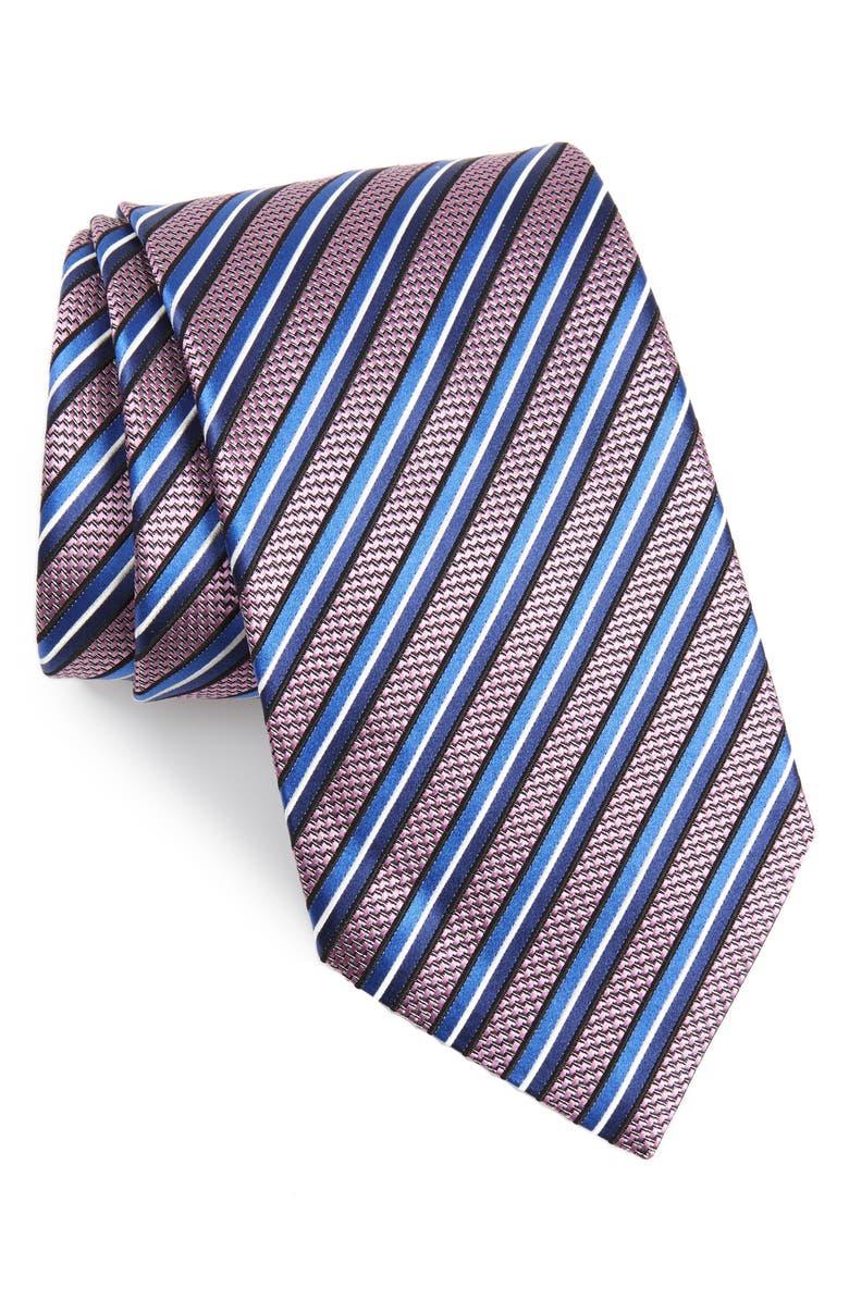 ERMENEGILDO ZEGNA Stripe Silk X-Long Tie, Main, color, PINK