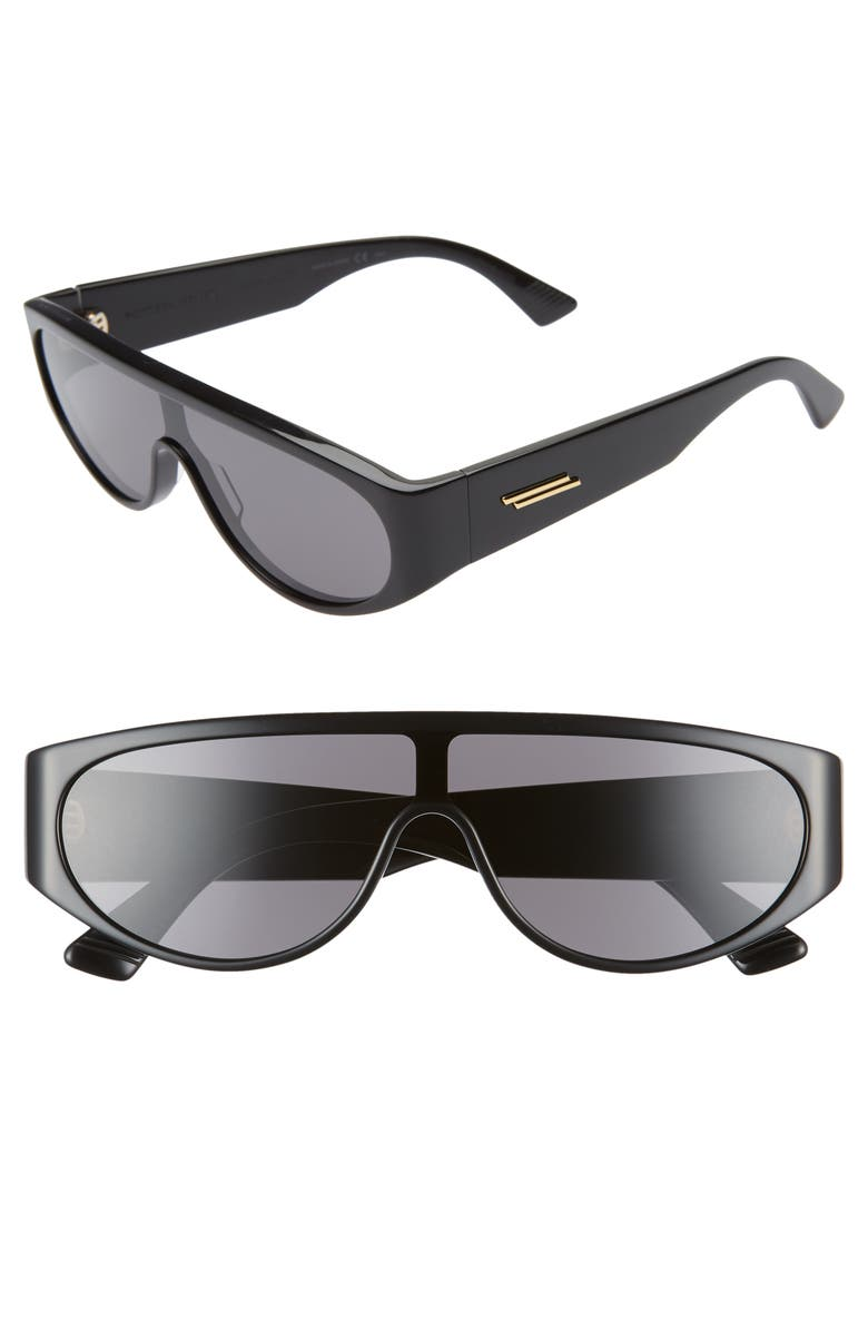 BOTTEGA VENETA 99mm Shield Sunglasses, Main, color, BLACK/ GREY