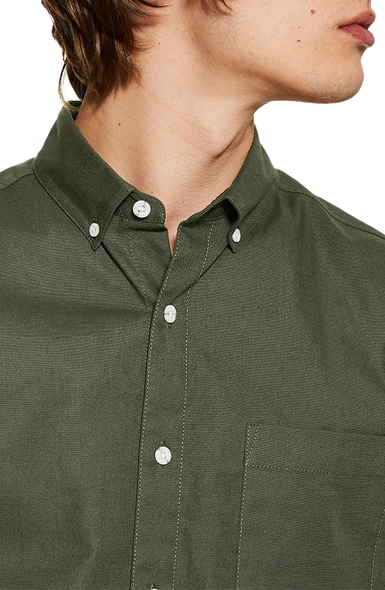 ,                             Muscle Fit Oxford Shirt,                             Alternate thumbnail 2, color,                             OLIVE