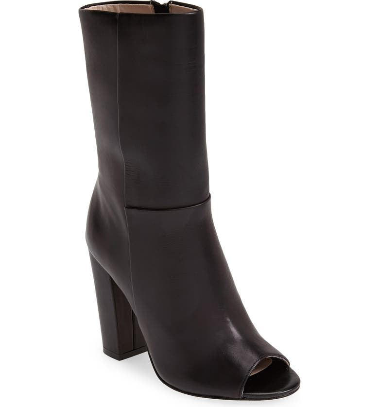 T TAHARI 'Panther' Peep Toe Leather Bootie, Main, color, BLACK