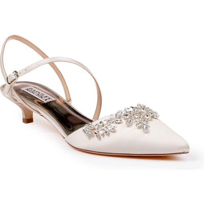 Badgley Mischka Crystal Embellished Quarter Strap Pump, Ivory