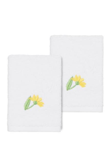 Image of LINUM HOME Daisy Embellished Washcloth - Set of 2 - White