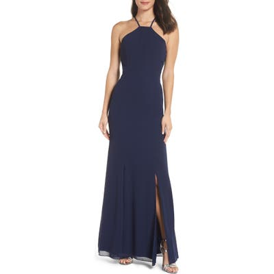 Chi Chi London Lace Back Halter Gown, Blue