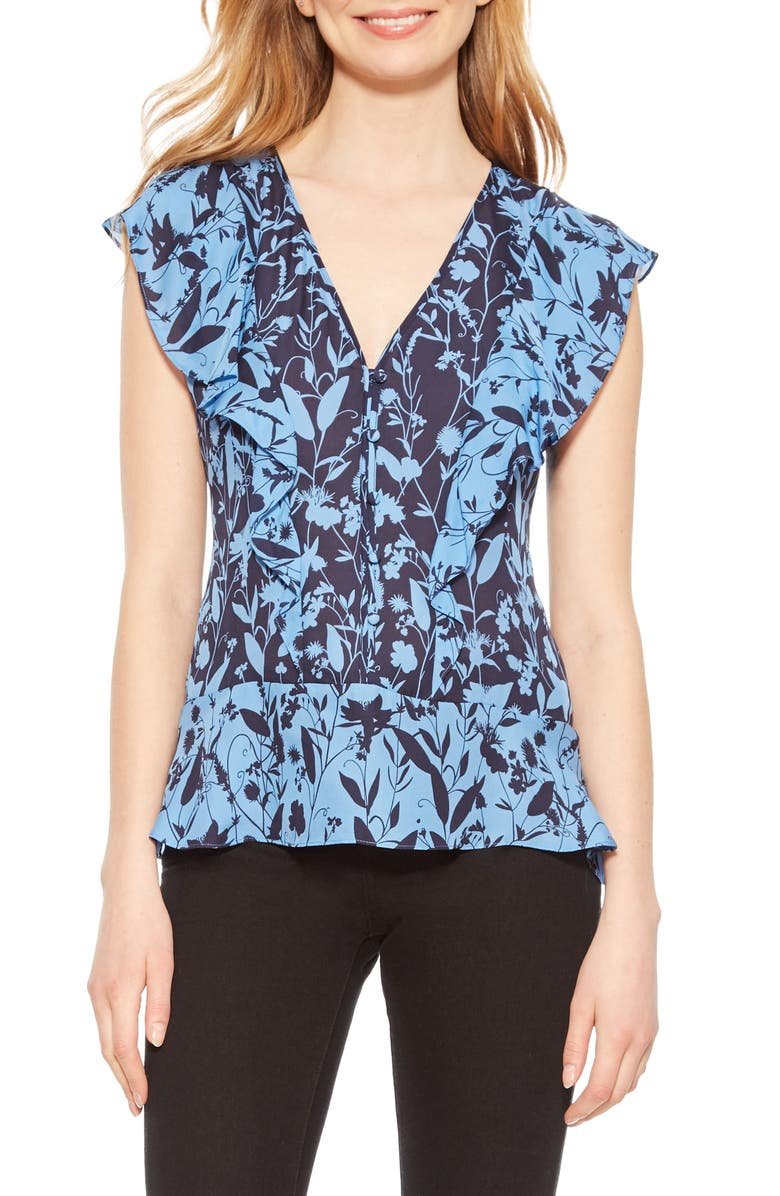 PARKER Kata Floral Print Blouse, Main, color, MIDNIGHT MEADOW