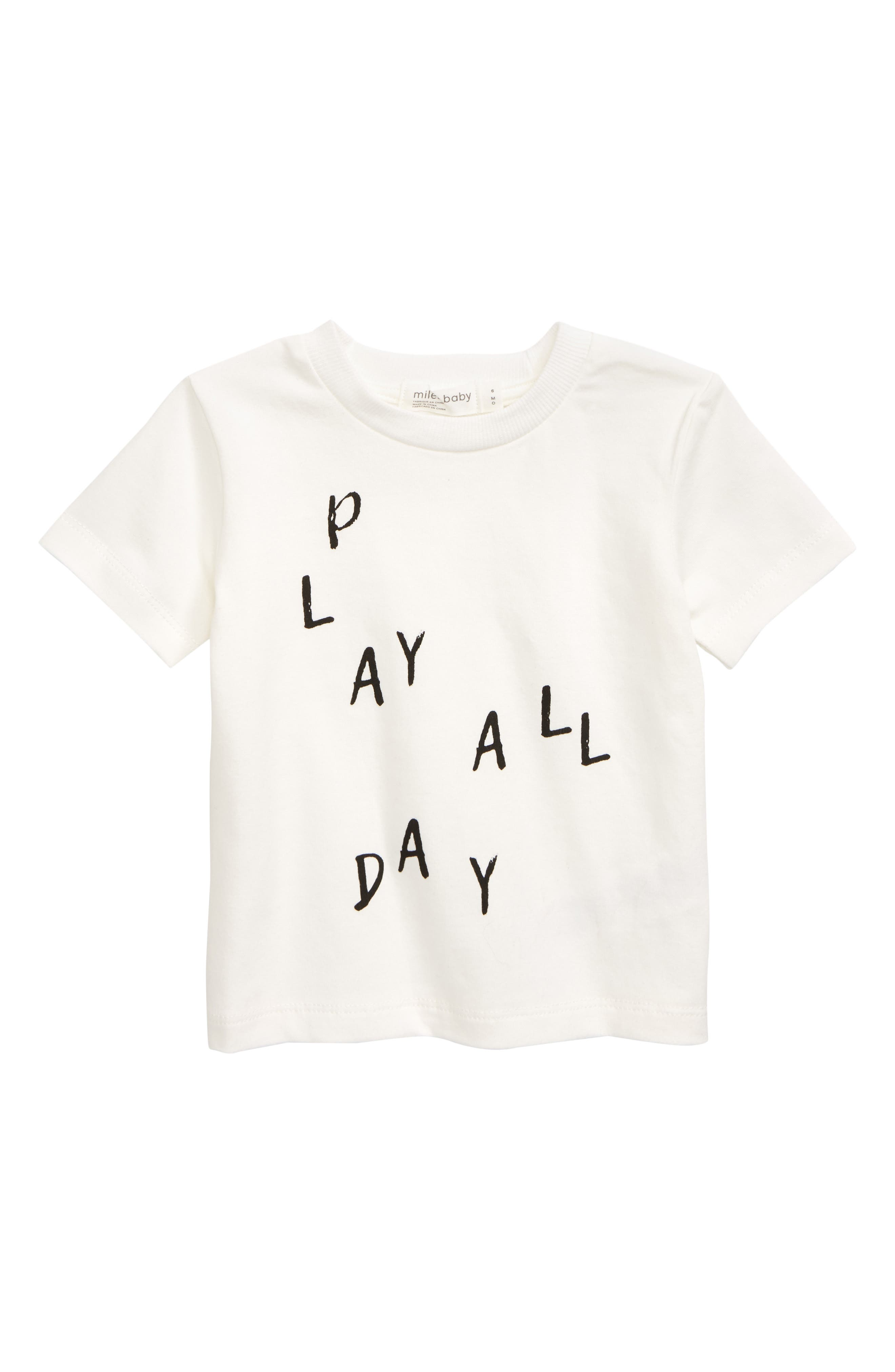 Baby can play all day in the comfort of this stretch-organic-cotton T-shirt. Style Name: Miles Baby Graphic T-Shirt (Baby). Style Number: 5886350 1. Available in stores.