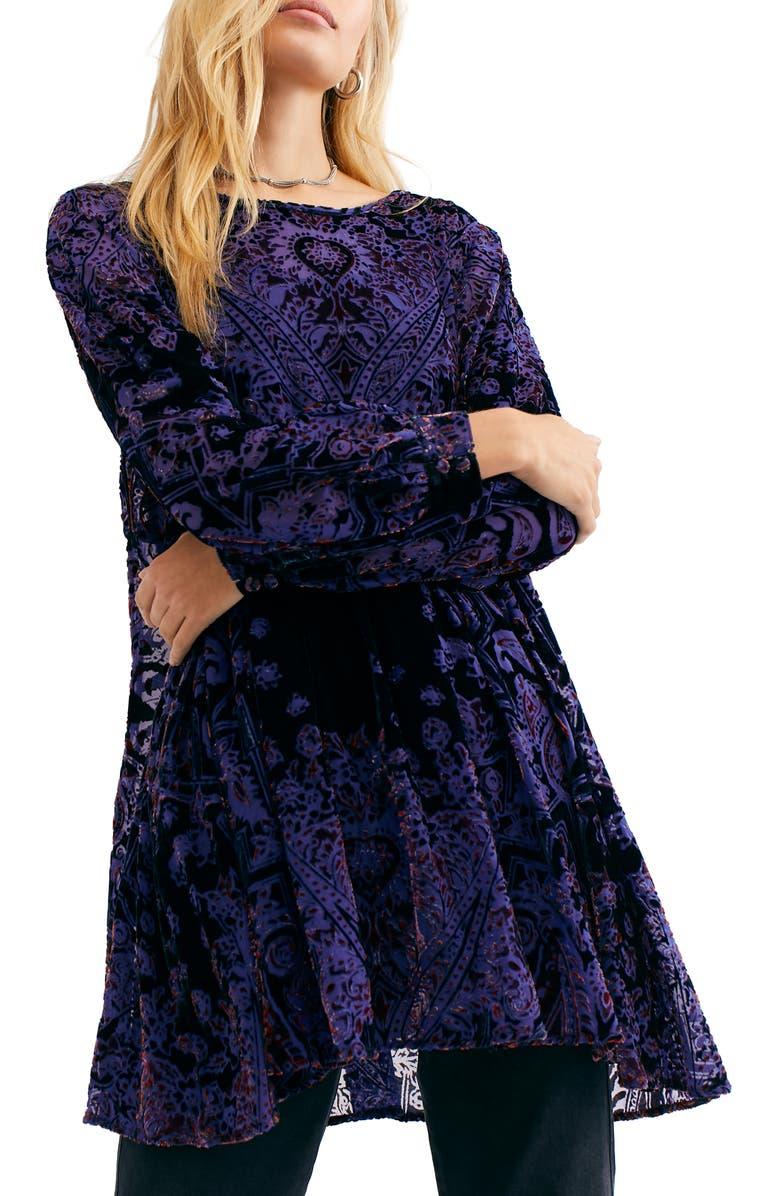 FREE PEOPLE Mirror, Mirror Long Sleeve Velvet Minidress, Main, color, 001