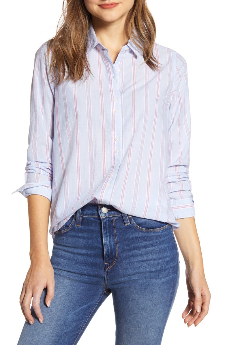 LUCKY BRAND Stripe Long Sleeve Cotton Button-Up Shirt, Main, color, 460