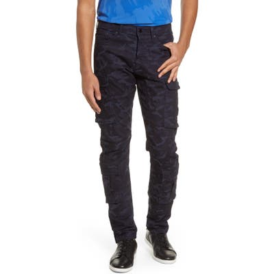 Karl Lagerfeld Paris Slim Fit Camo Print Cargo Pants, Blue