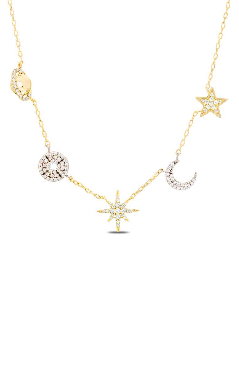 LESA MICHELE Cubic Zirconia Charm Necklace, Main, color, YELLOW GOLD